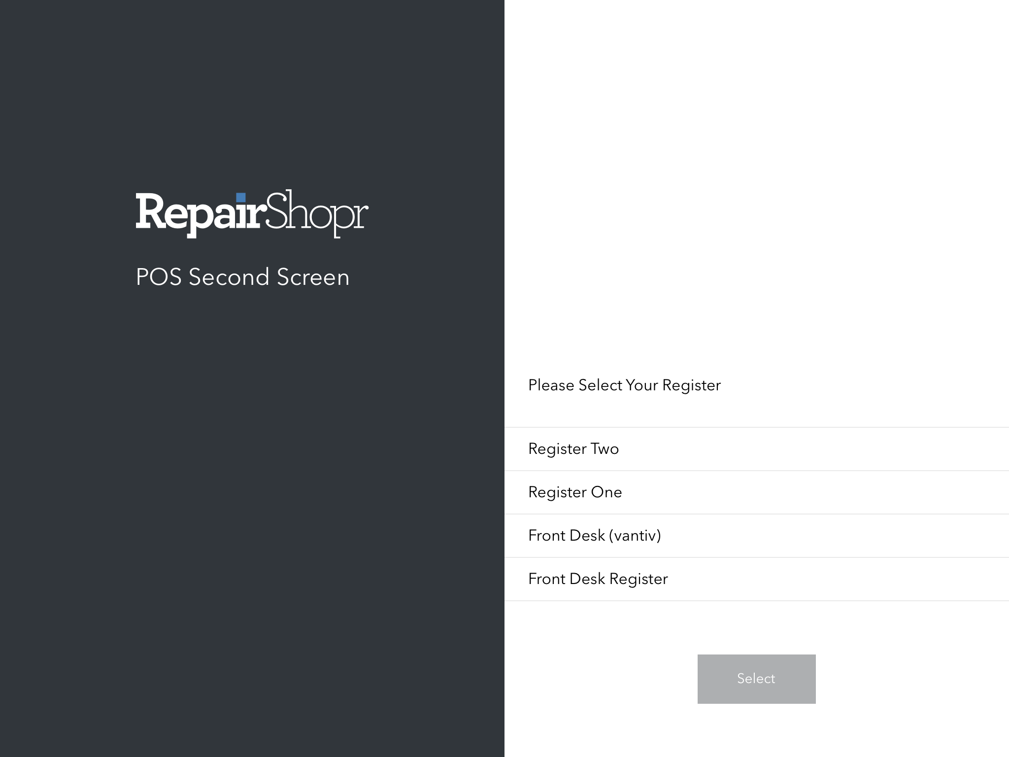 Choosing a Register in the POS Second Screen App