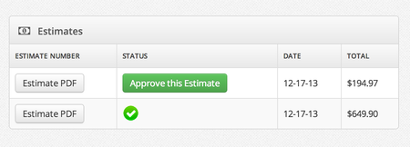 New Feature – Estimates on customer portal with approval!