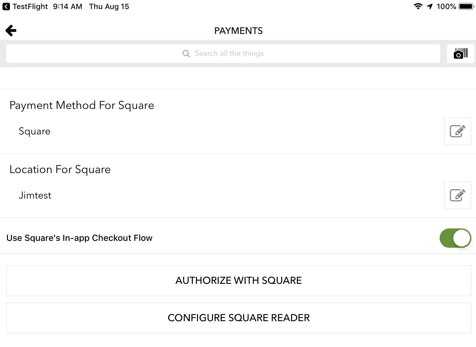Square Reader & Payments enable