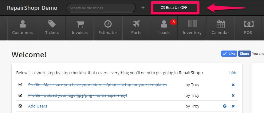 RepairShopr Beta UI