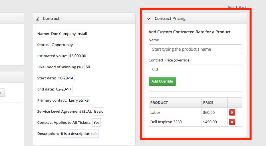 custom contract fees